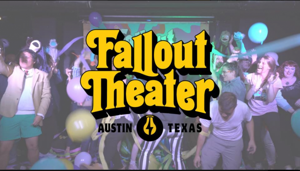 Fallout Theater logo in front of stage full of people and balloons